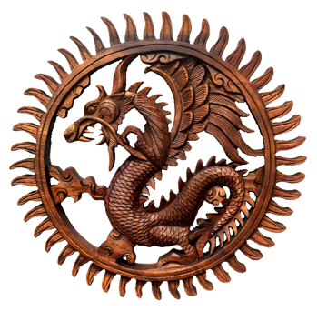 Mandala Dragão em Madeira Suar ( 30 cm )
