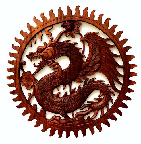 Mandala Dragão em Madeira Suar ( 80 cm )