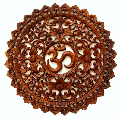 Mandala Om em Madeira Suar com Moldura Esculpida ( 80 cm )