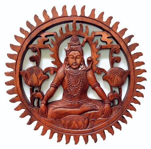 Mandala Shiva em Madeira Suar ( 30cm )