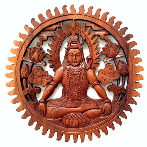 Mandala Shiva em Madeira Suar ( 40cm )