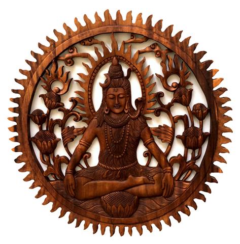 Mandala Shiva em Madeira Suar ( 80cm )