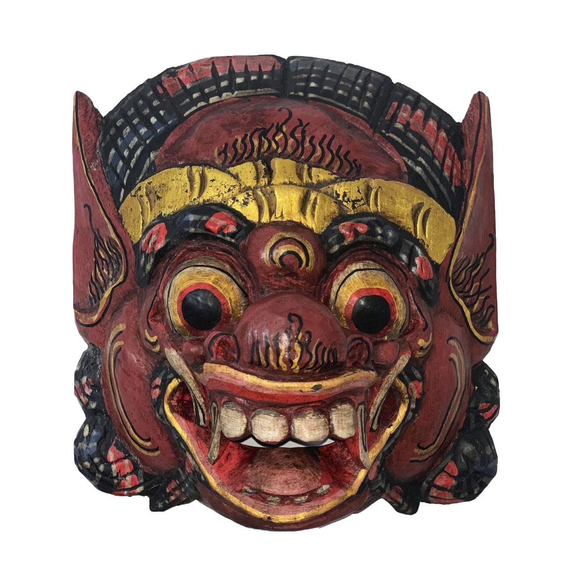 Máscara Barong em Madeira Albésia - Vinho e Dourado ( 20cm )