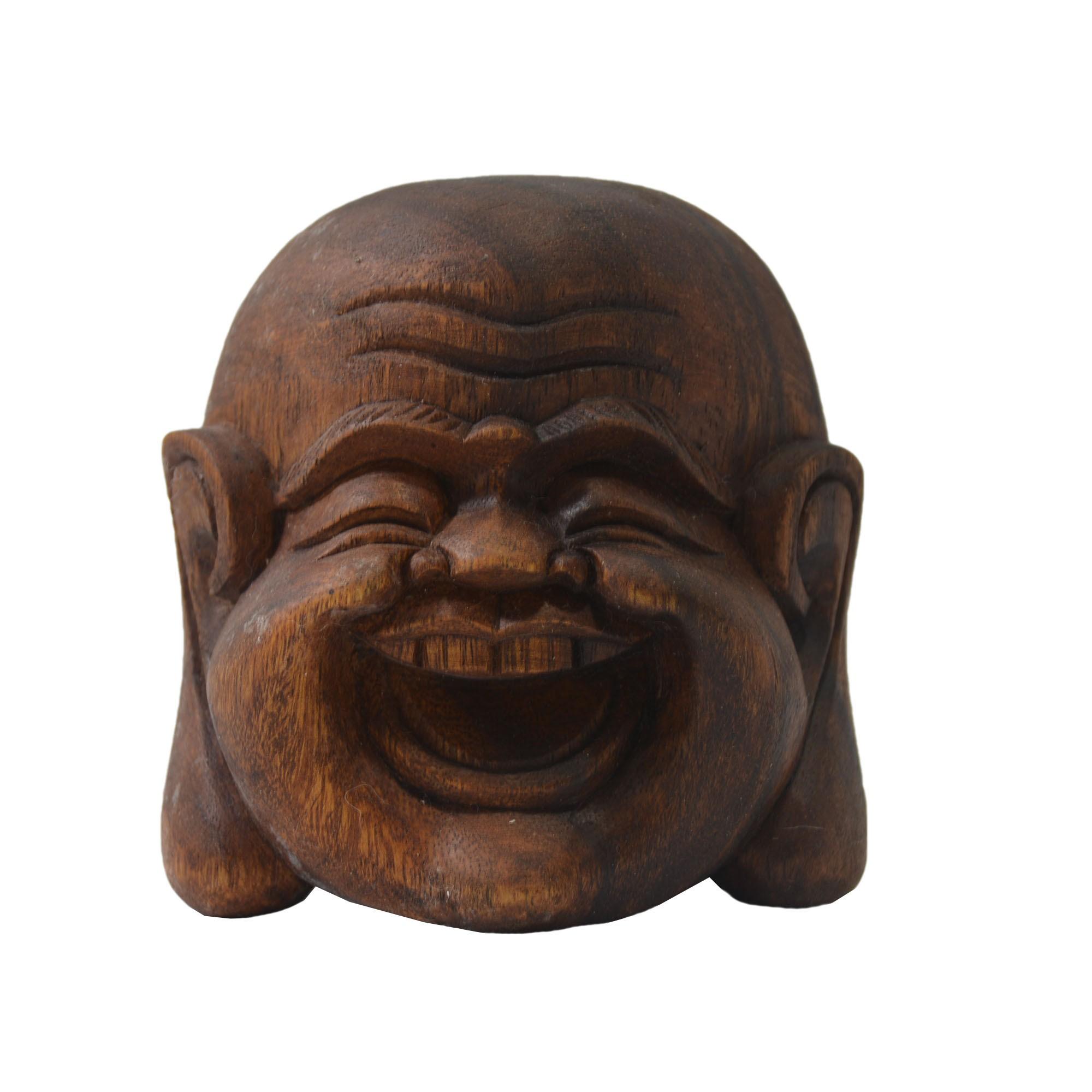 Máscara Buda Maitreya Sorrindo em Madeira Suar em Tons Naturais ( 10cm )
