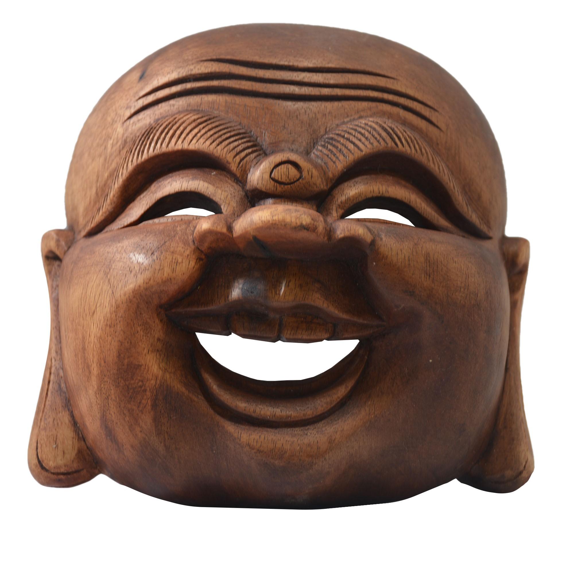 Máscara Buda Maitreya Sorrindo em Madeira Suar em Tons Naturais ( 17cm )