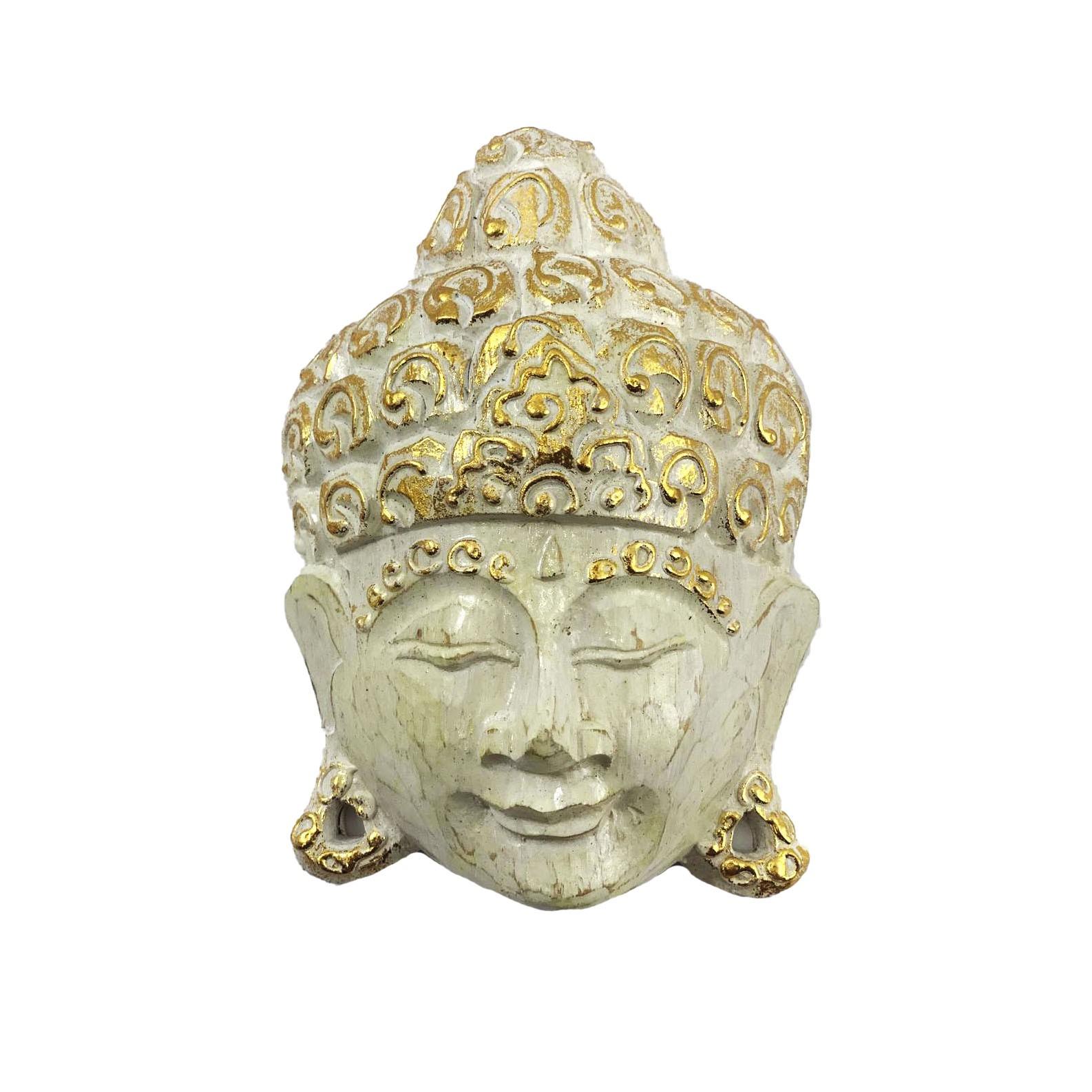 Máscara Buda Sidartha em Madeira Albésia com Pintura em Branco e Dourado ( 15cm )