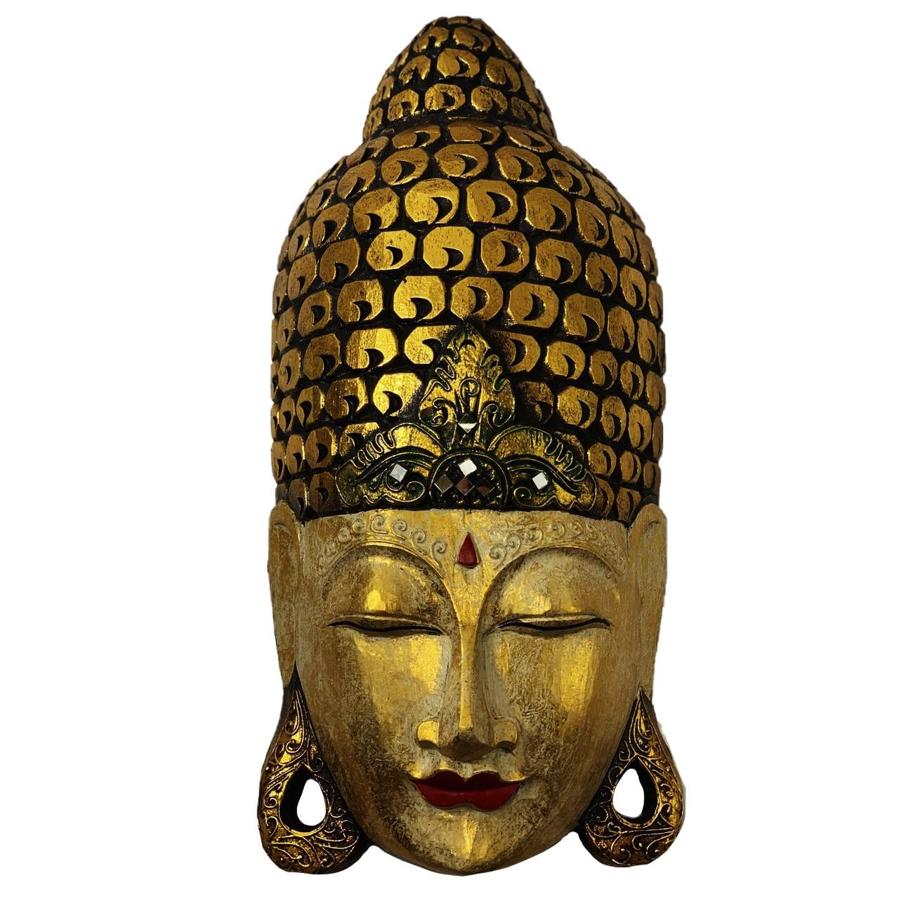 Máscara Buda Sidartha em Madeira Albésia com Pintura em Dourado com Detalhes em Vermelho ( 50cm )