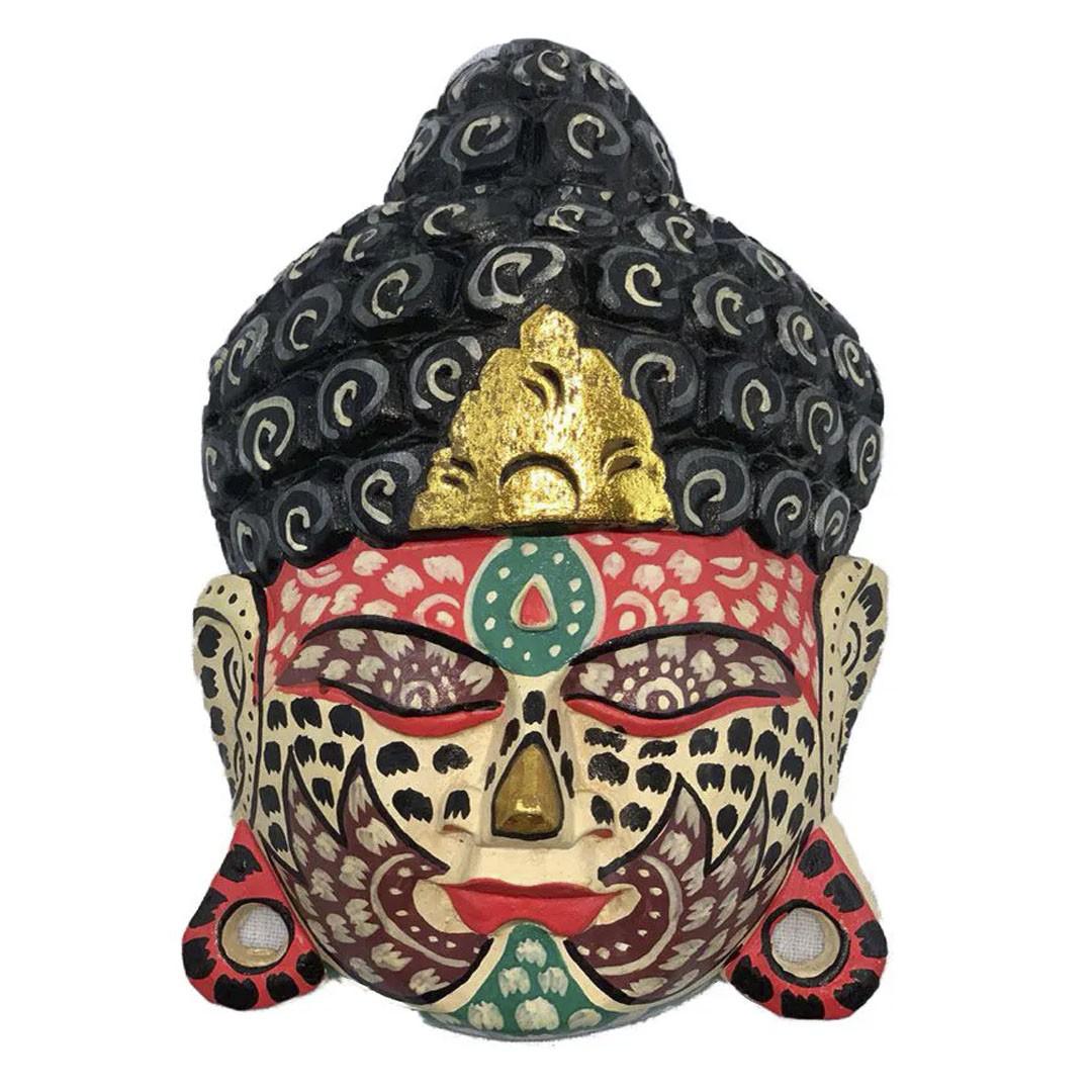 Máscara Buda Sidartha em Madeira Albésia com Pintura Tribal ( 25cm )