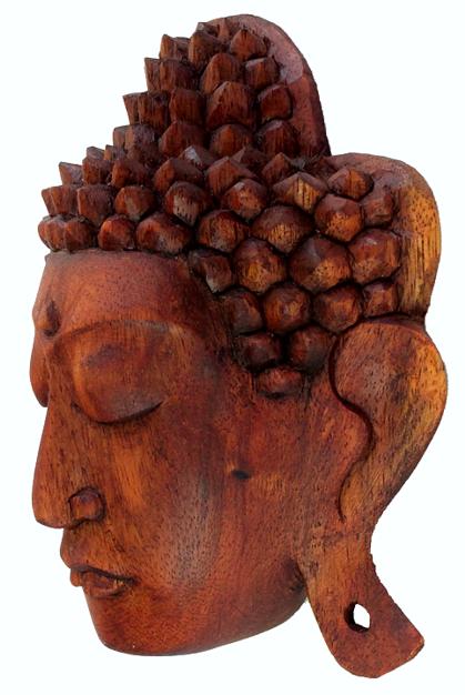 Máscara Buda Sidartha em Madeira Suar em Tom Natural ( 16cm )