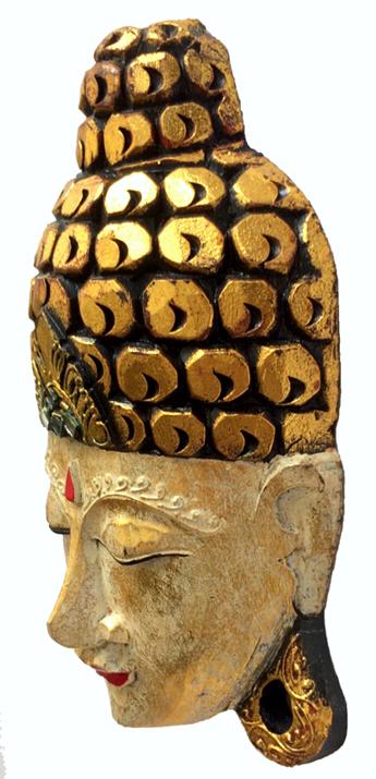Máscara Buda Sidartha em Madeira Albésia com Pintura em Dourado e Detalhes em Vermelho ( 30cm )