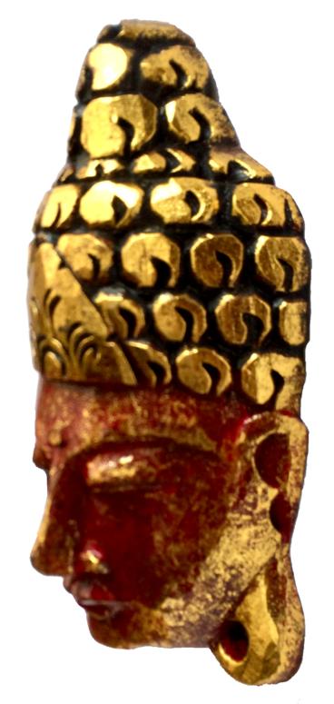 Máscara Buda Sidartha em Madeira Albésia com Pintura em Vermelho e Dourado ( 30cm )