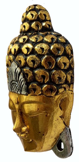 Máscara Buda Sidartha em Madeira Albésia com Pintura em Dourado ( 30cm )