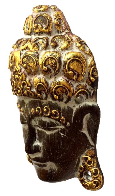 Máscara Buda Sidartha em Madeira Albésia com Pintura em Marrom e Dourado ( 15cm )