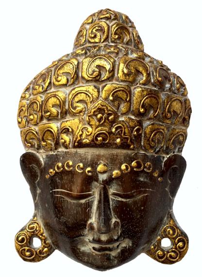 Máscara Buda Sidartha em Madeira Albésia com Pintura em Marrom e Dourado ( 20cm )