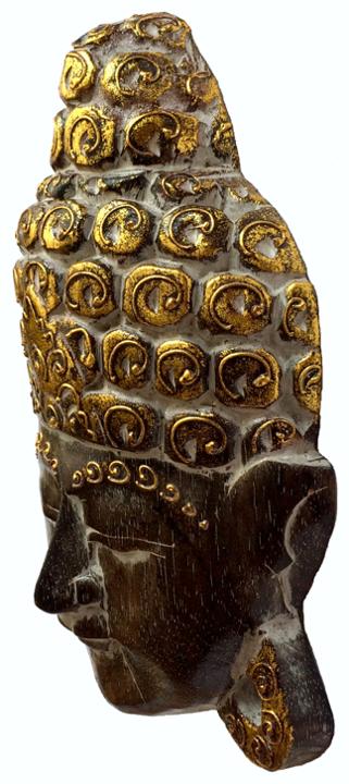 Máscara Buda Sidartha em Madeira Albésia com Pintura em Marrom e Dourado ( 25cm )