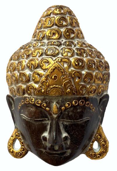 Máscara Buda Sidartha em Madeira Albésia com Pintura em Marrom e Dourado ( 28cm )