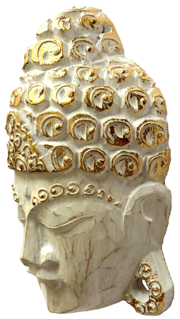 Máscara Buda Sidartha em Madeira Albésia com Pintura em Branco e Dourado ( 14x20 cm )