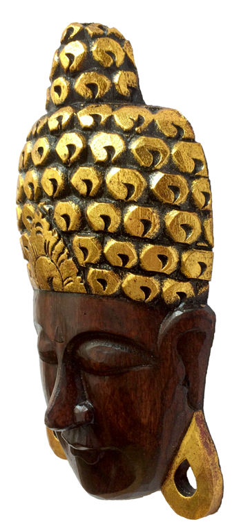 Máscara Buda Sidartha em Madeira Albésia com Pintura em Marrom e Dourado ( 22x40 cm )