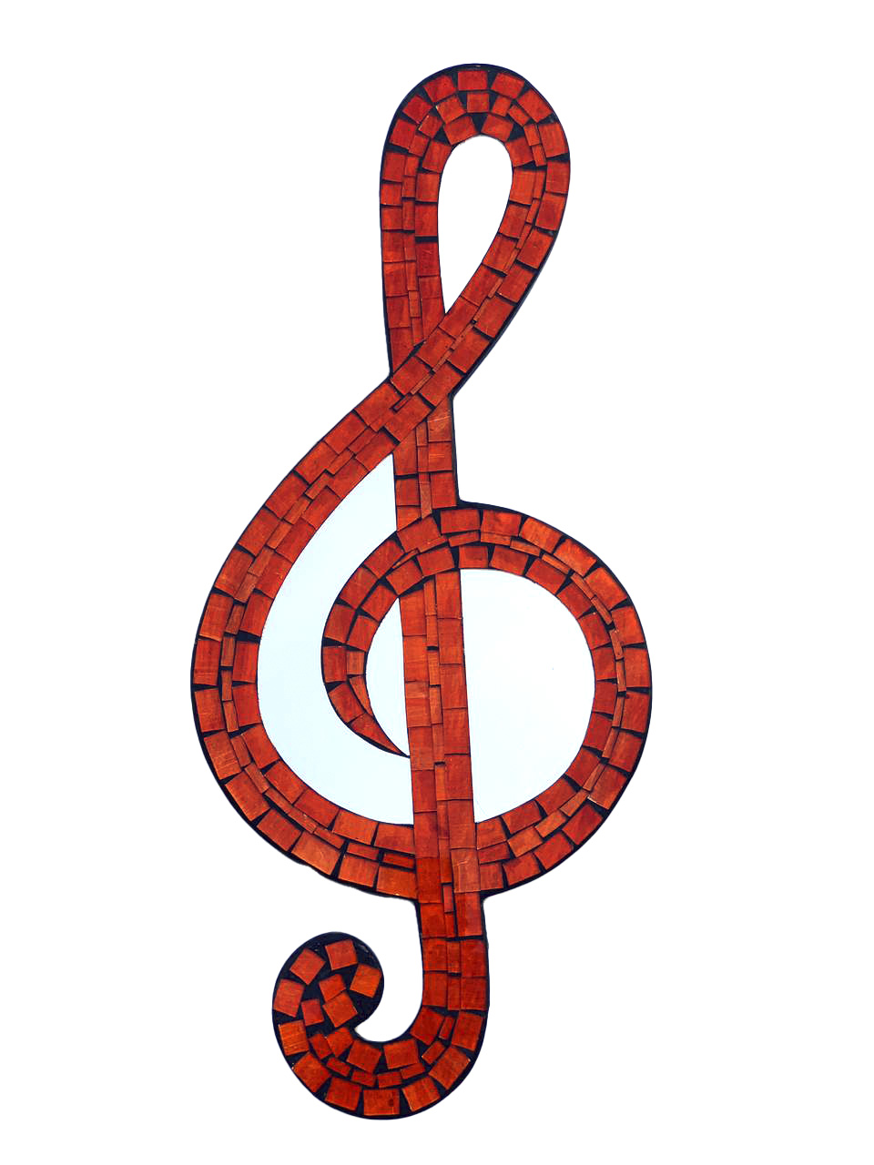 Mosaico com Espelhos - Nota Musical ( Laranja ) ( 50cm )