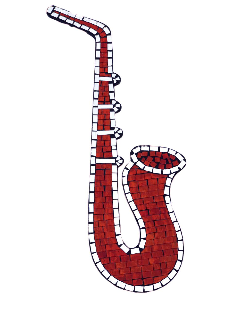 Mosaico com Espelhos - Saxofone ( Laranja Avermelhado ) ( 60x25cm )