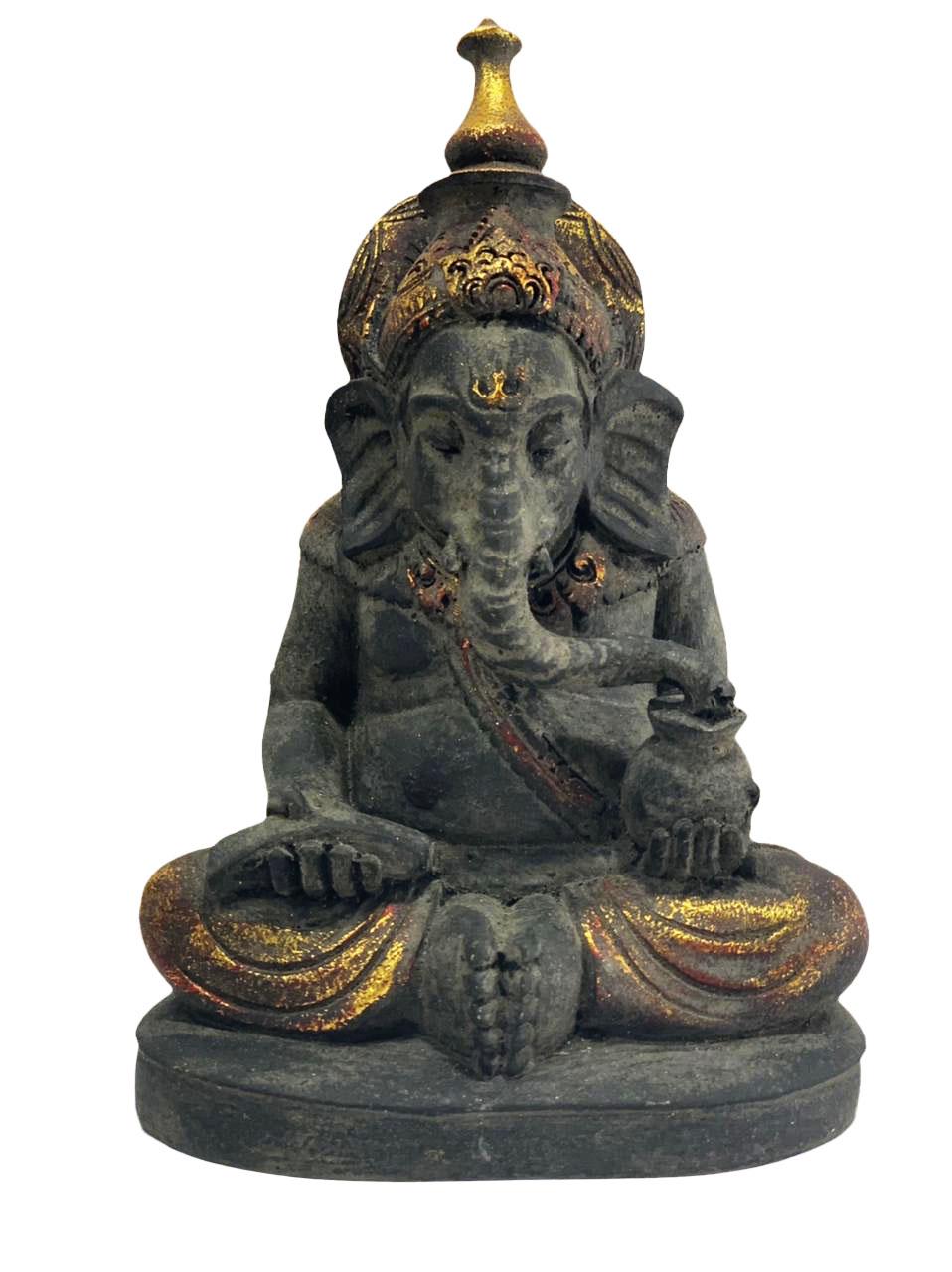 *Novidade* Ganesha em Resina - Preto Envelhecido com Folha Dourada ( 20cm )
