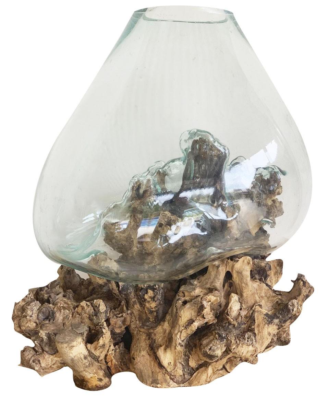 [ PEÇA ÚNICA c/ FRETE INCLUSO ] Vaso de Vidro Moldado sobre Madeira Natural ( 50cm )