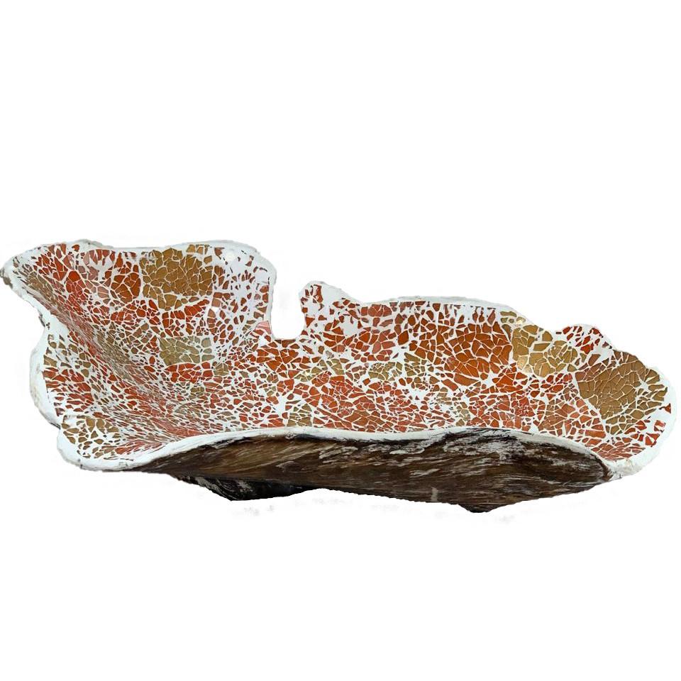 Travessa em Raíz de Madeira teca com mosaico de vidro Laranja e Dourado ( 43x26x15cm )