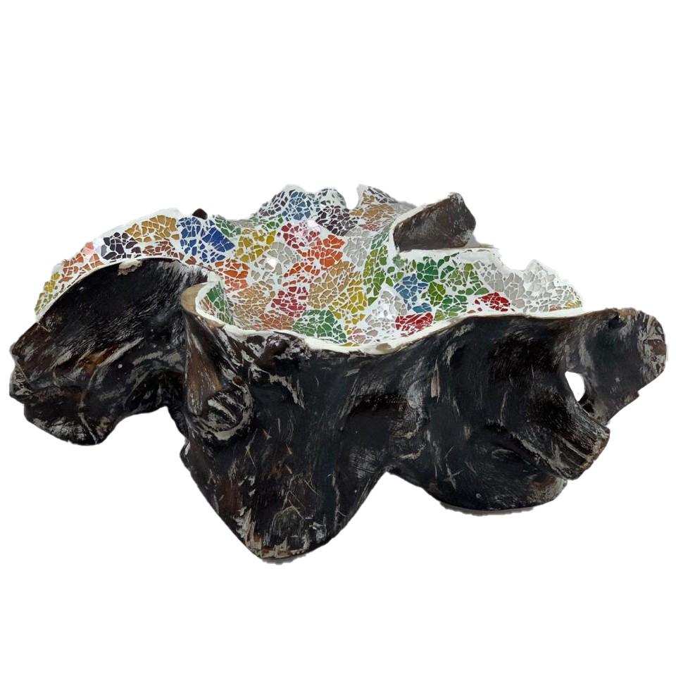 Travessa em Raíz de Madeira teca com mosaico de vidro Multicolorido ( 50x35x18cm )