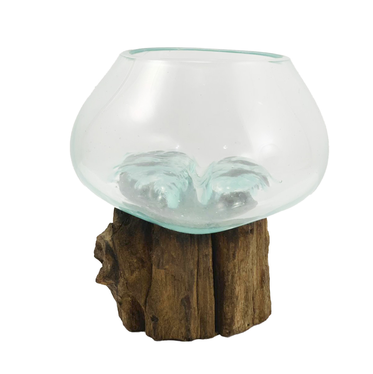 [ PEÇA ÚNICA ] Vaso de Vidro Moldado sobre Madeira Natural ( 14cm )