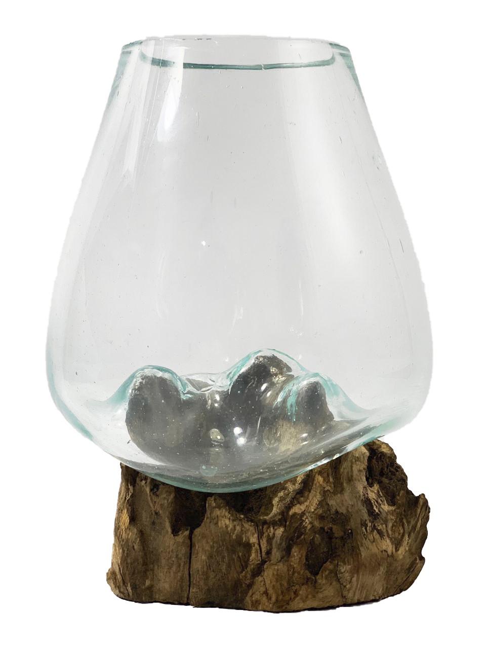 [ PEÇA ÚNICA ] Vaso de Vidro Moldado sobre Madeira Natural ( 20cm )