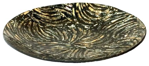 Travessa em Resina Preta com Madrepérola e Abalone ( 18x3cm )