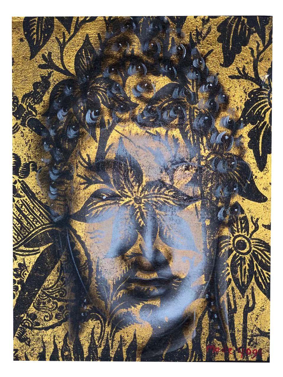 Pintura em Tela representando Buda Sidartha - Pintura a mão com Moldura em Madeira ( 40x30cm )