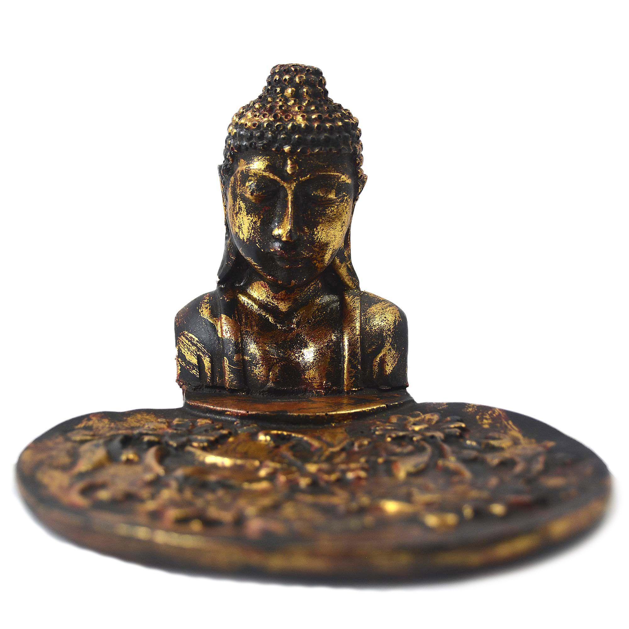 Porta Incensos Buda Sidartha em Resina Cor Dourado Envelhecido - Busto