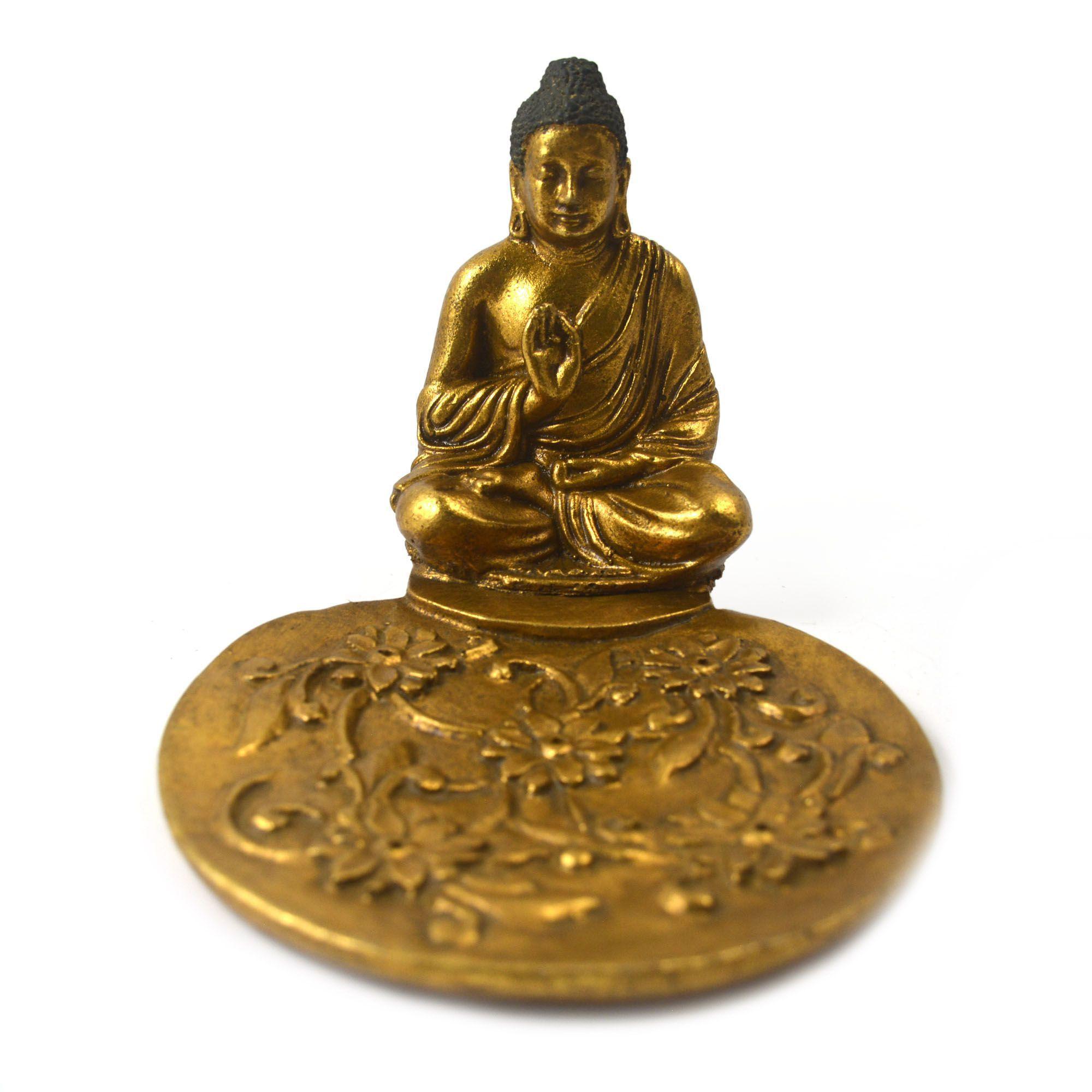 Porta Incensos Buda Sidartha Meditando em Resina Dourada e Trama Floral