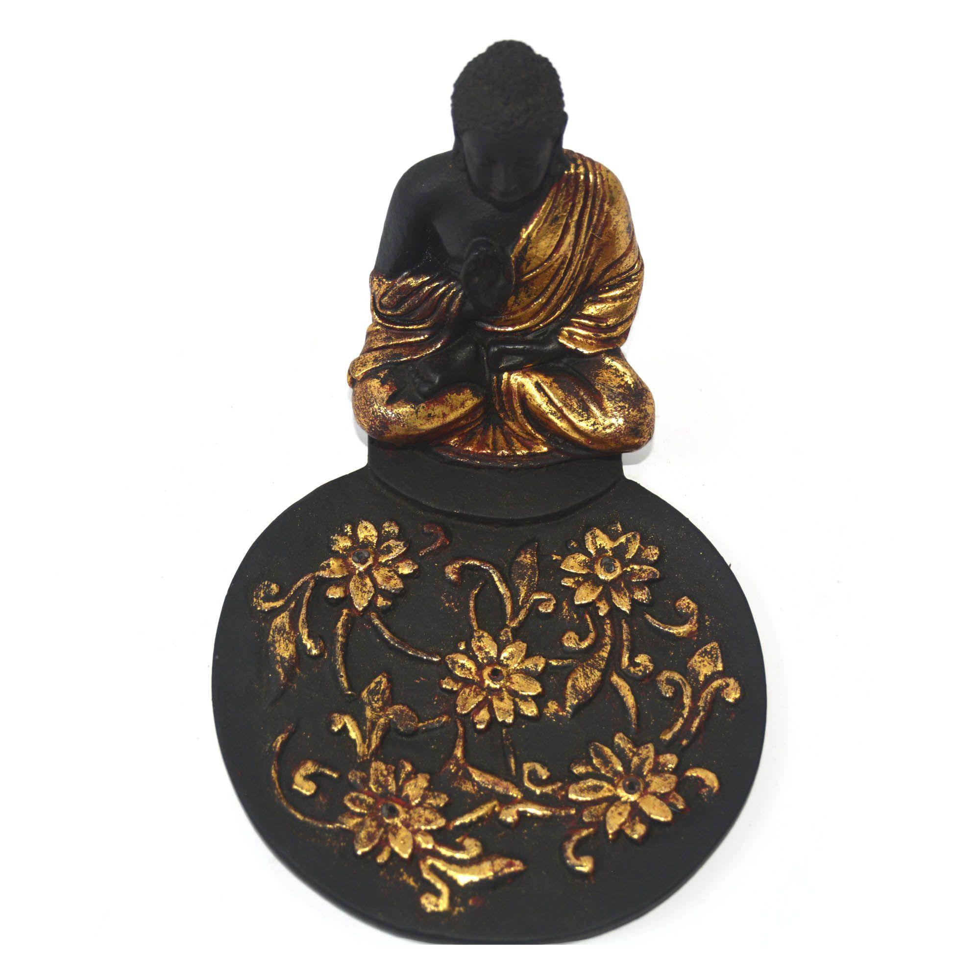 Porta Incensos Buda Sidartha Meditando em Resina Preta com Dourado e Trama Floral