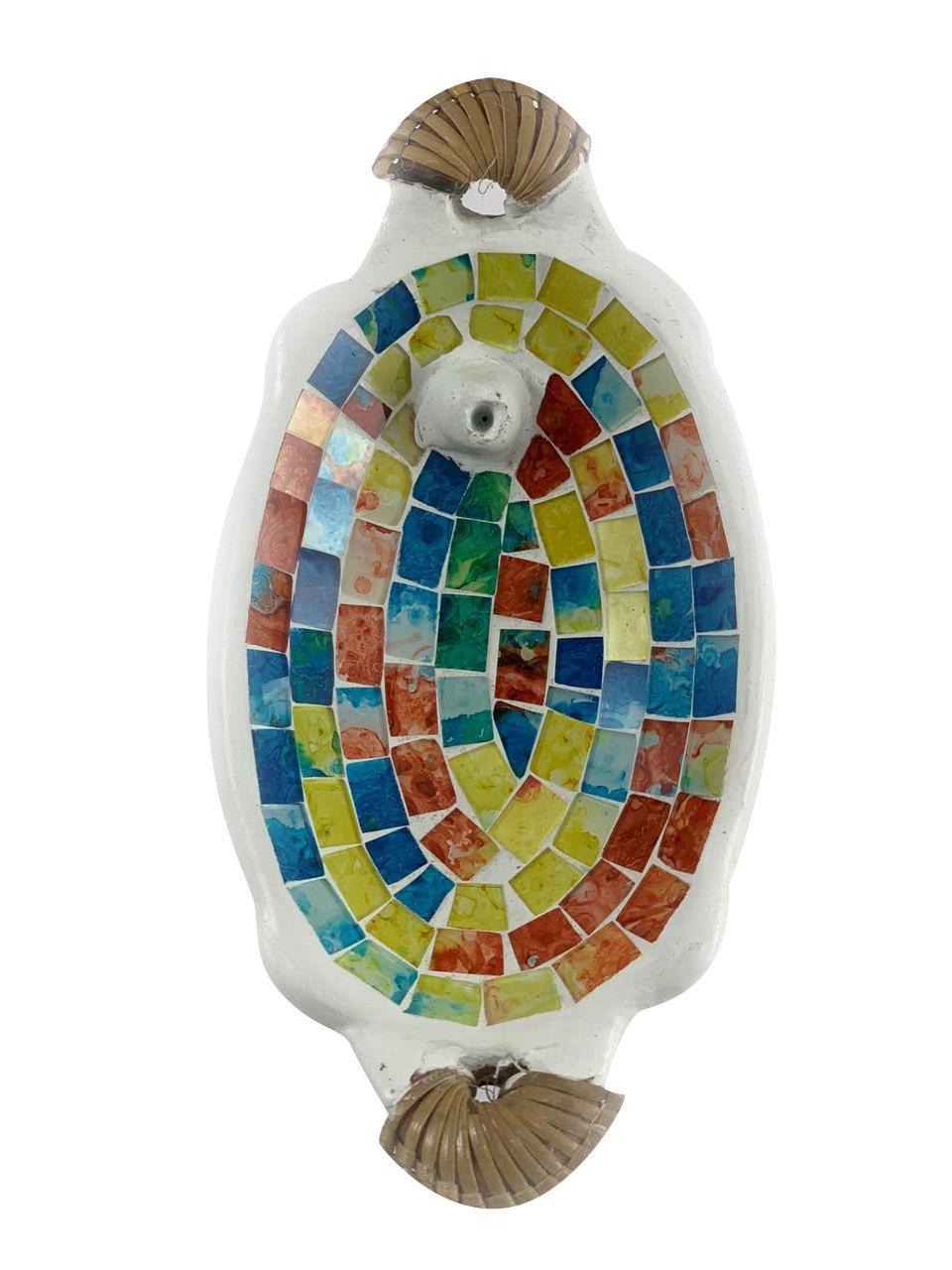 Porta Incensos Oval em Cerâmica com Mosaico Colorido e Rattan