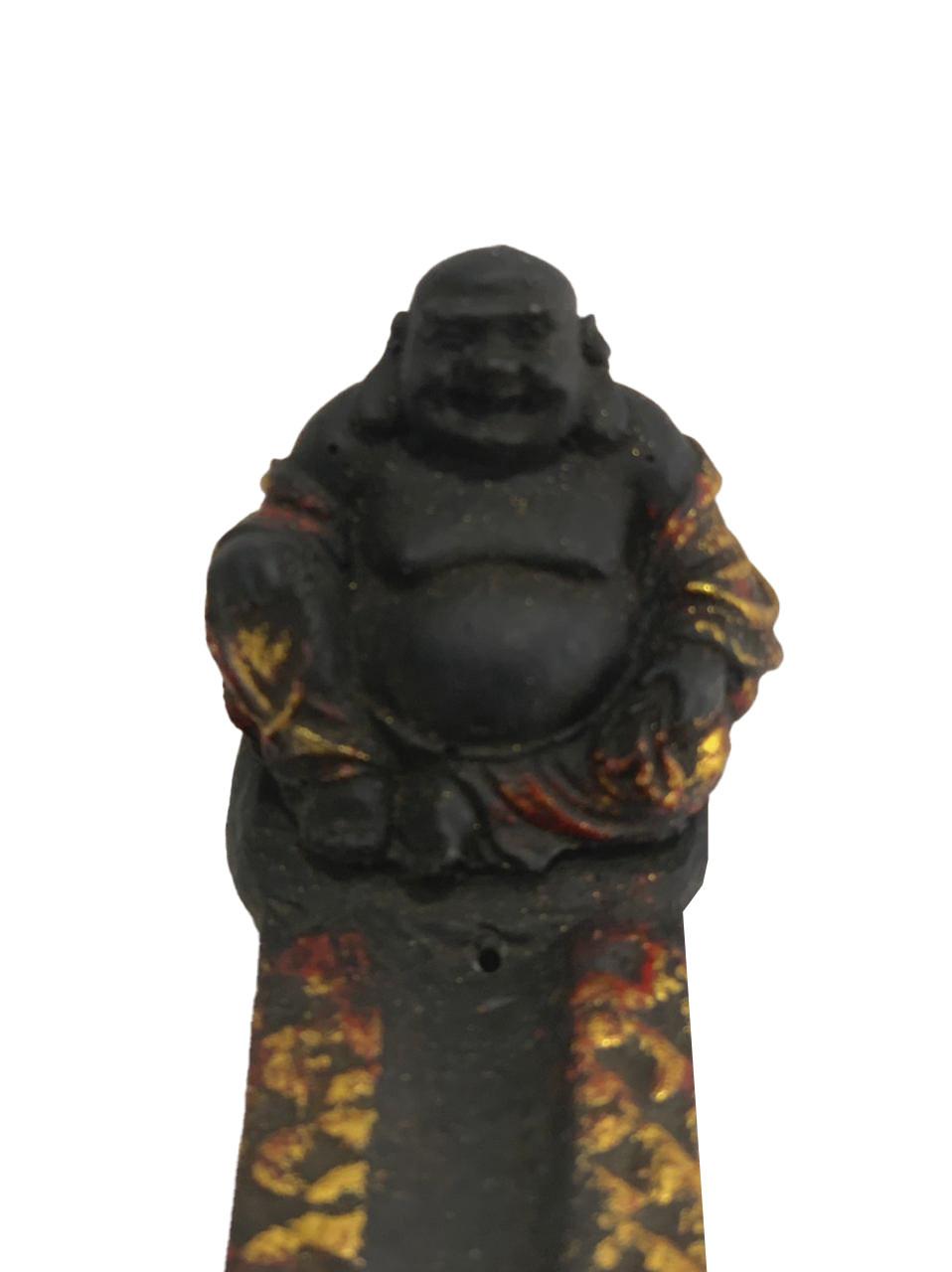 Porta Incensos Buda Maitreya em Preto e Dourado ( 07x05x29cm )