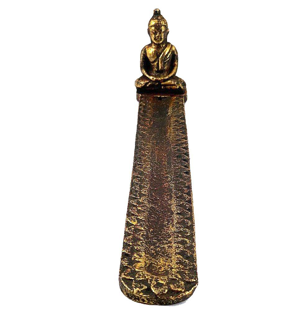 Porta Incensos Buda Sidartha Meditando em Resina com pintura em Dourado ( 8x30cm )