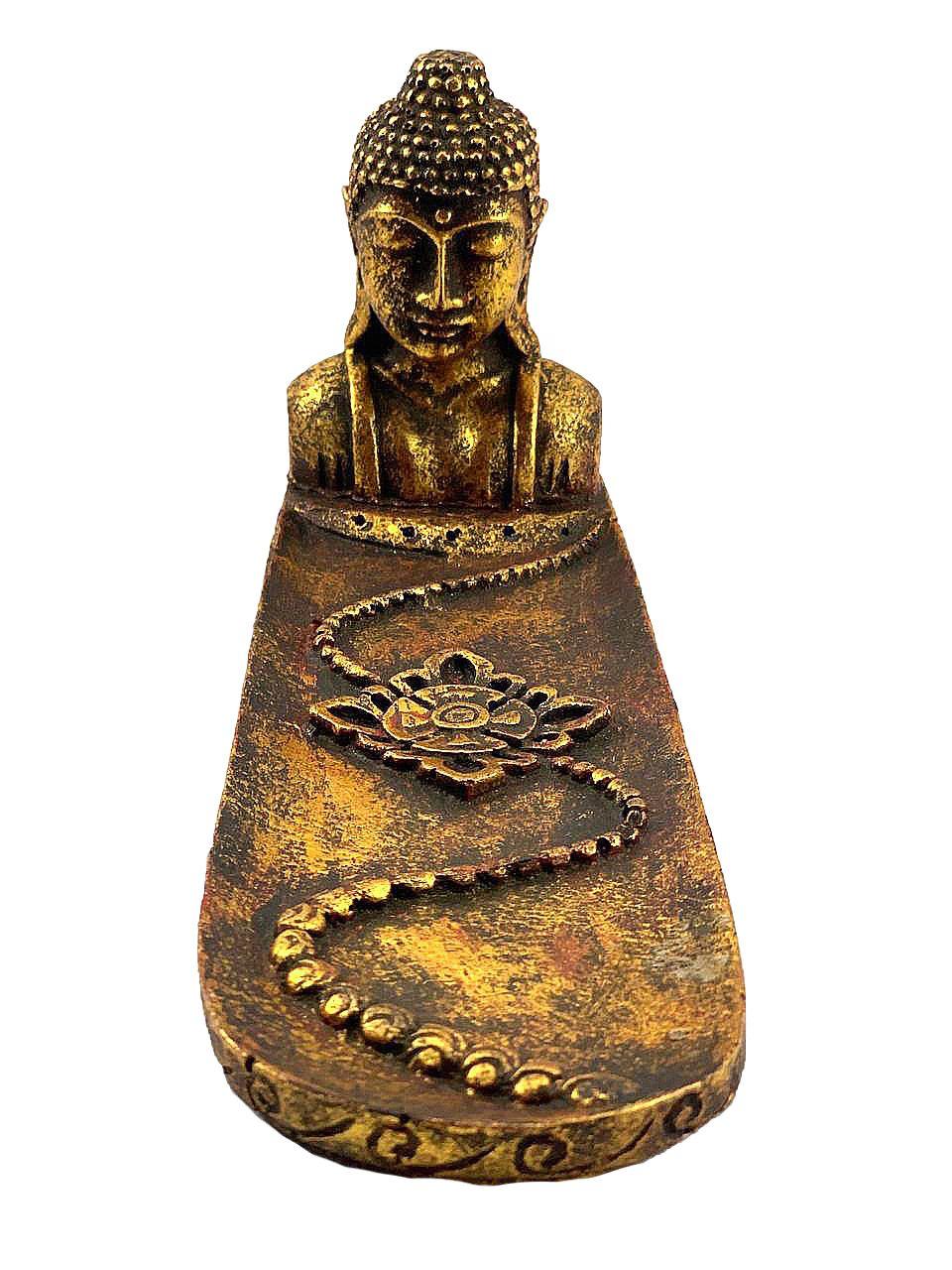 Porta Incensos Busto de Buda Sidartha em Resina com pintura em Dourado ( 12x30cm )