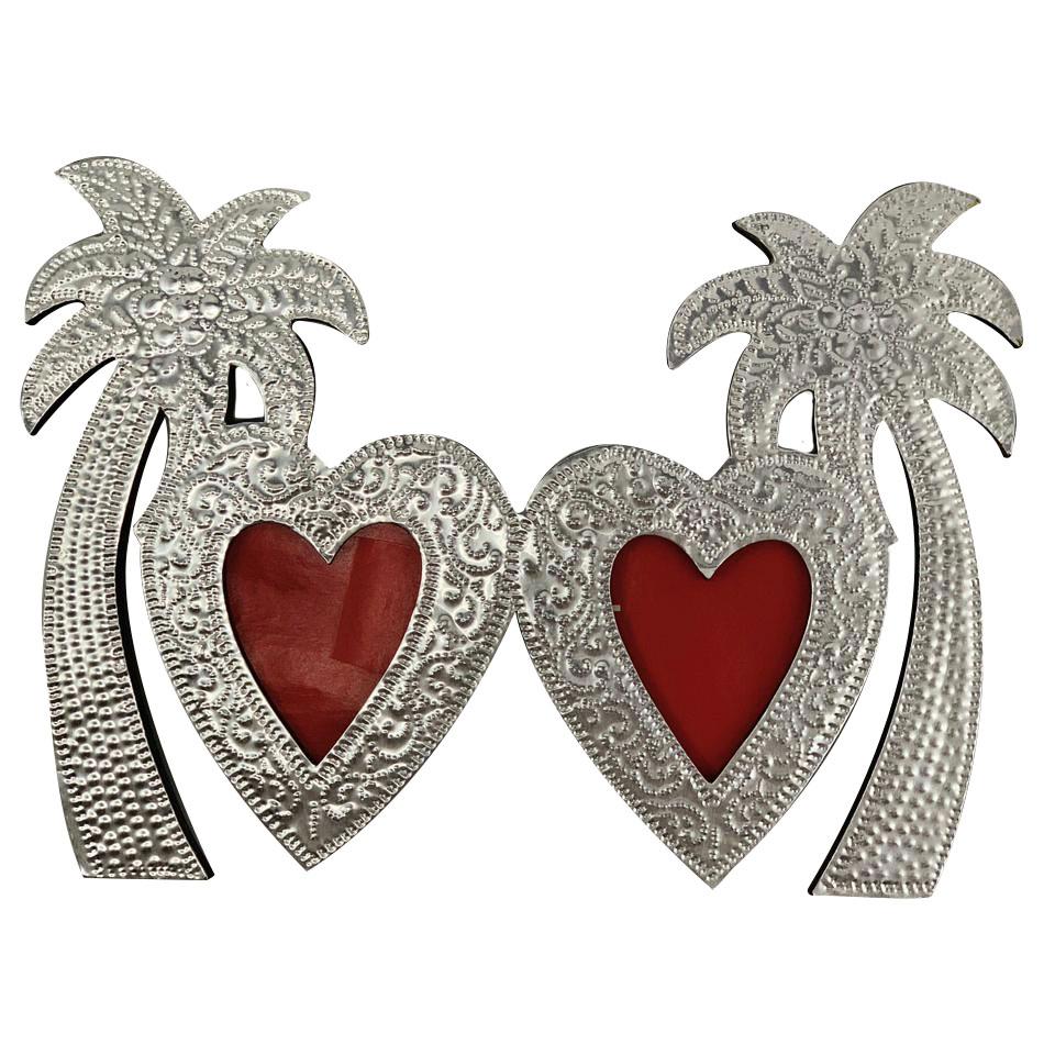 [SUGESTÃO] Porta Retrato - Coração e Coqueiros - Alumínio e MDF ( 22 cm )