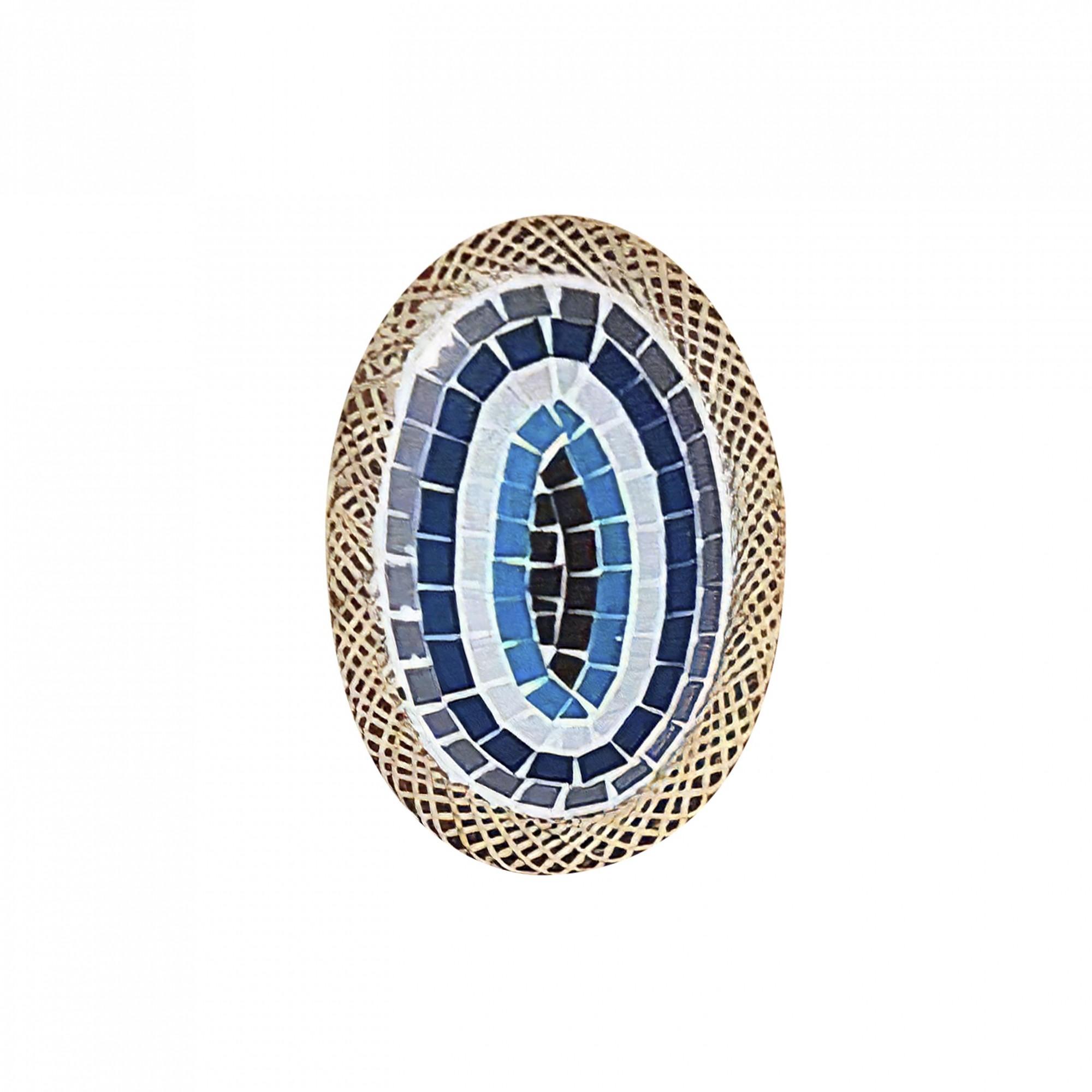 Prato Cerâmica Oval com Mosaico de Olho Grego com Bordas em Rattan ( 20 cm )