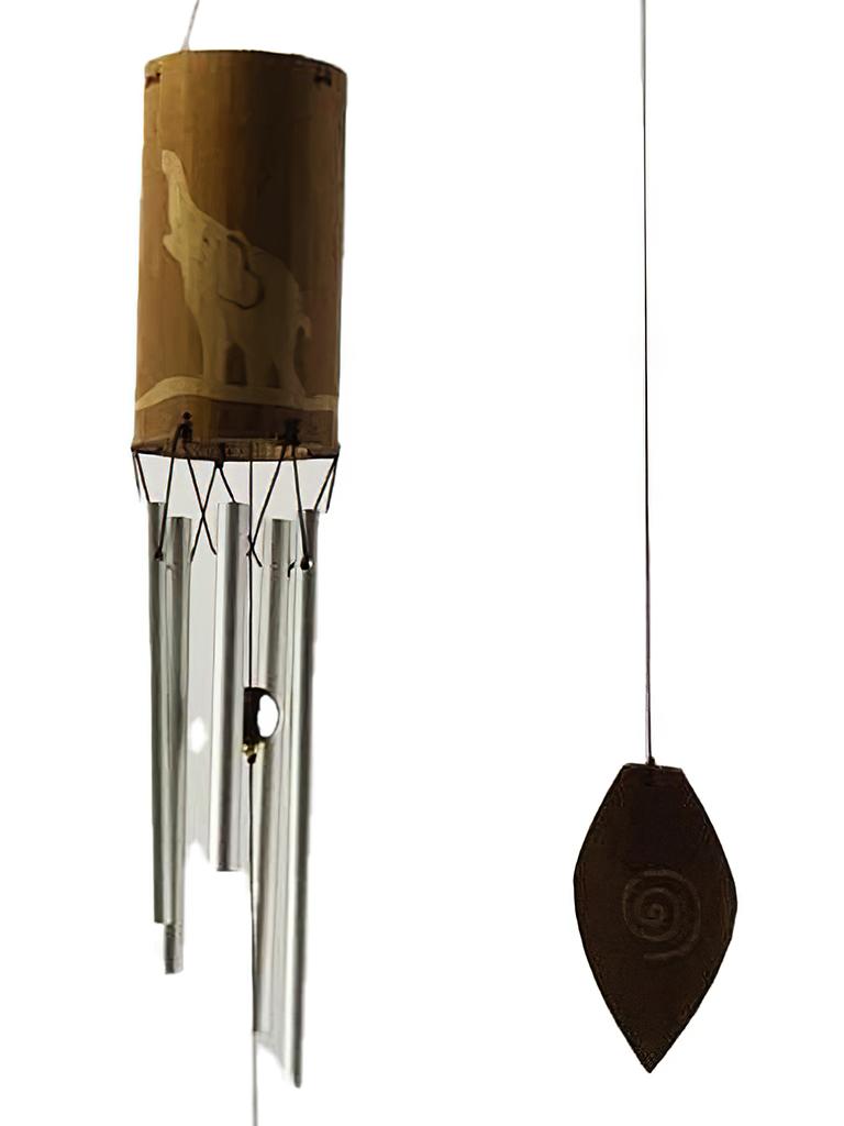Sino Metal & Bambu - Elefante - Mensageiro do Vento ( 80cm )