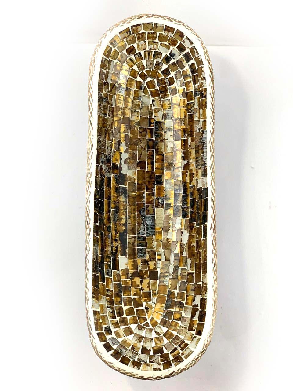 Travessa em Madeira Albésia e Mosaico em Vidro com Detalhes em Dourado ( 15x45cm )