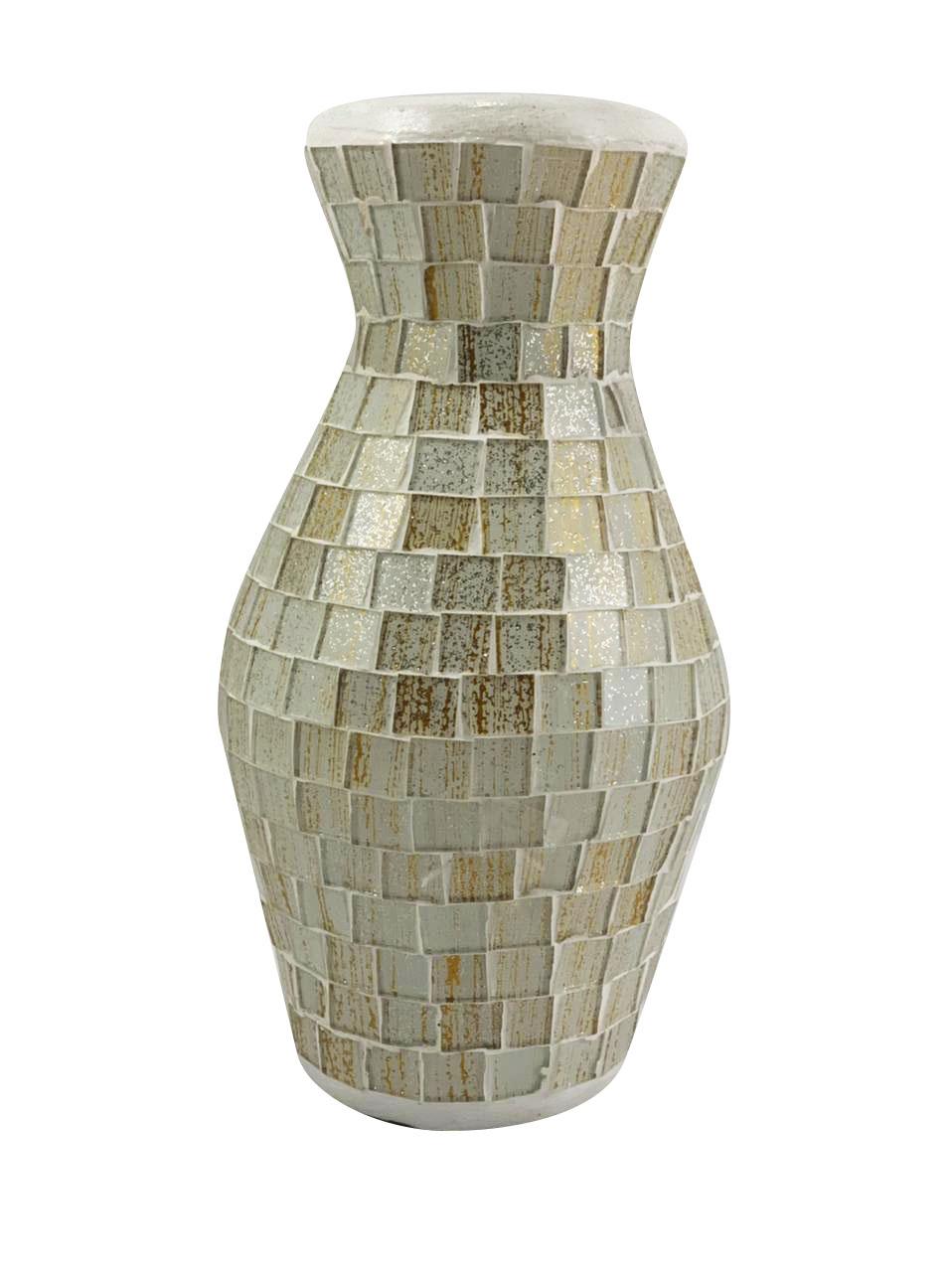 Vaso em Cerâmica com Mosaico de Vidro Branco e Dourado ( 21cm )