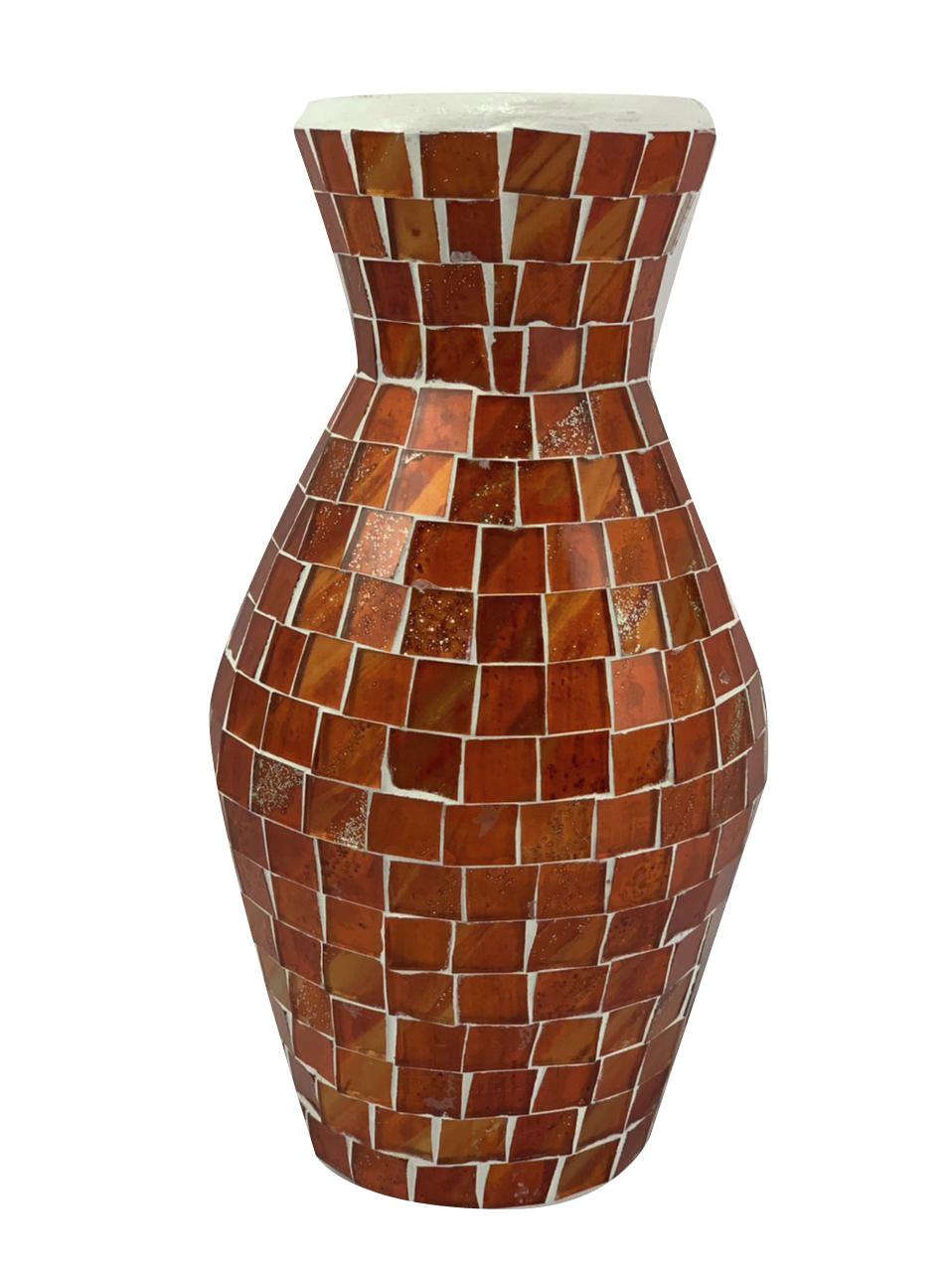 Vaso em Cerâmica com Mosaico de Vidro Colorido ( 20cm )