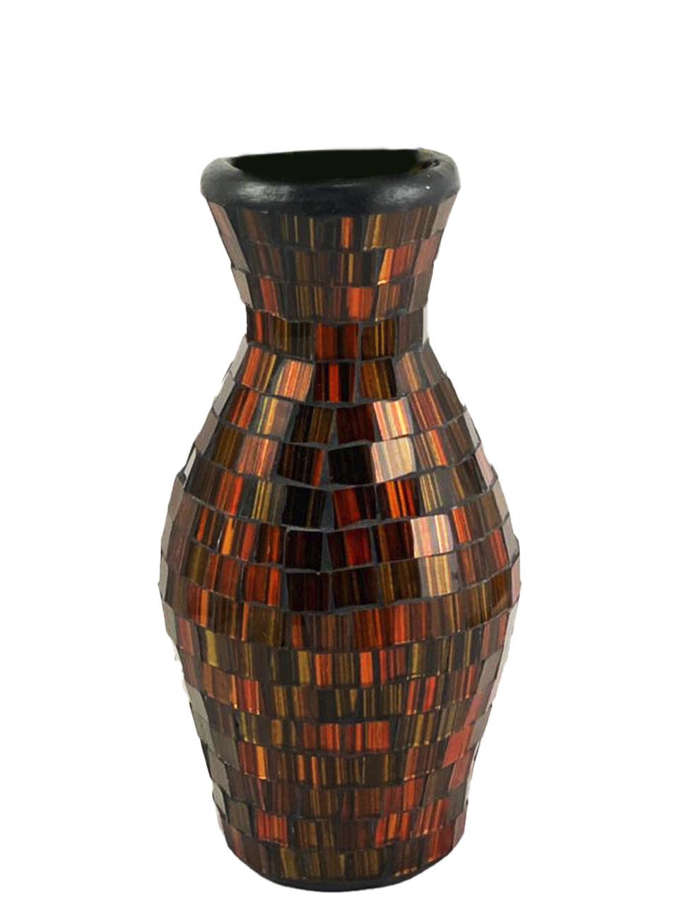 Vaso em Cerâmica em Mosaico de Vidro Cor Laranja/Dourado e Preto ( 21cm )