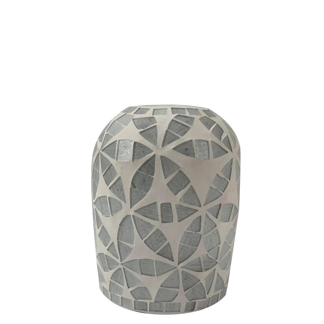 Vaso Floral em Cerâmica com Mosaico Prateado em Vidro ( 15cm )