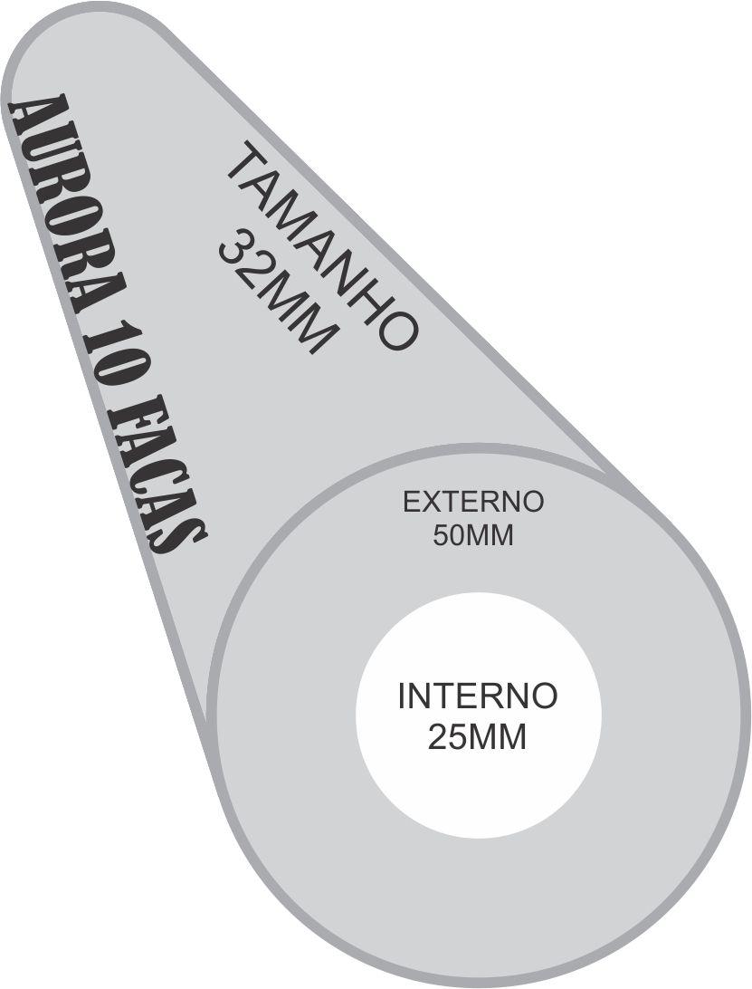 ROLO DA MAQUINA DE CORTE 10 FACAS AURORA FURO INTERNO 25MM