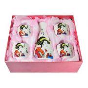 Jogo de Sake Gueixa em Porcelana