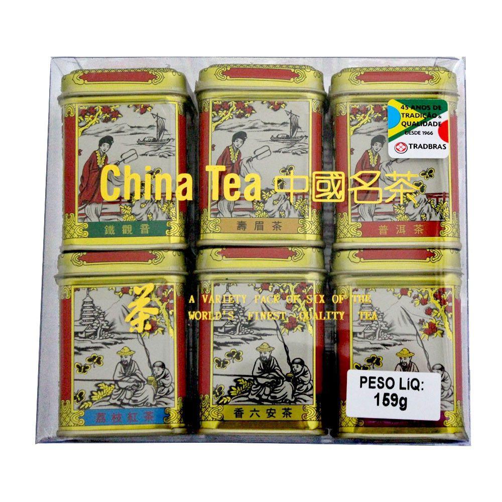 Chá Chinês 6 sabores (Mini Latas Douradas) 159g